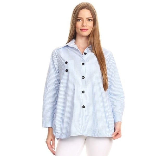 Women's Cotton Striped Button Down Blouse with Long Sleeves. Opens flyout.
