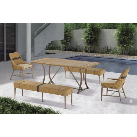 Madison Park Panorama Natural Outdoor Patio Dining Bench