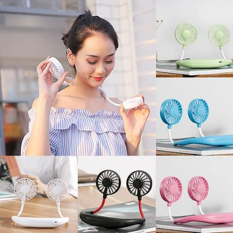 Portable Sports Fan USB Charging Handheld Neckband Fan Mini Double Fans 3 Speed Adjustable Wearable