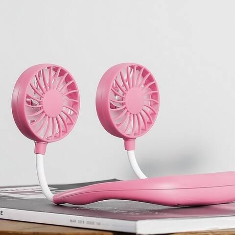 Portable Sports Fan USB Charging Handheld Neckband Fan Mini Double Fans 3 Speed Adjustable Wearable