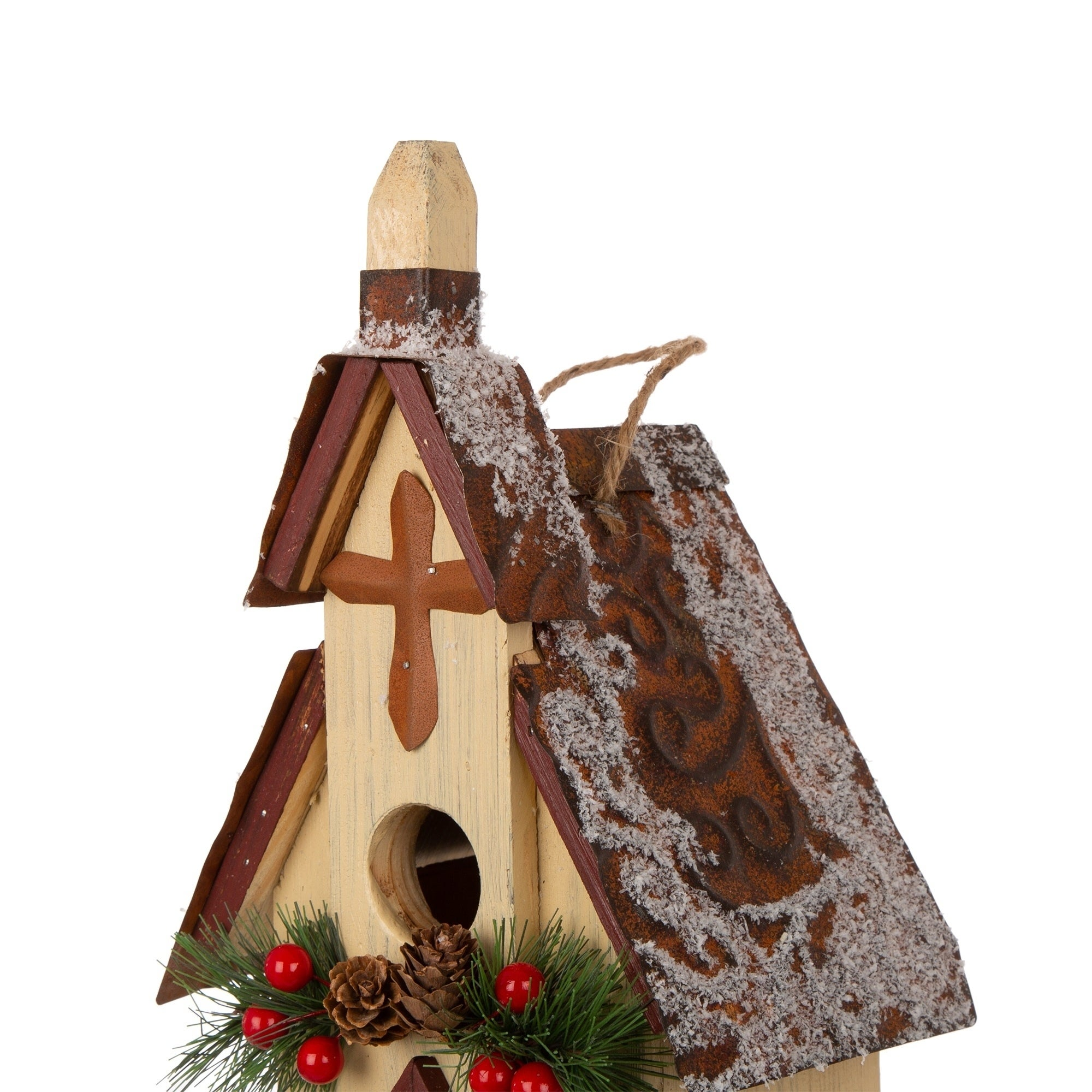 Glitzhome Christmas Wooden Church Birdhouse Overstock 28780626 Large