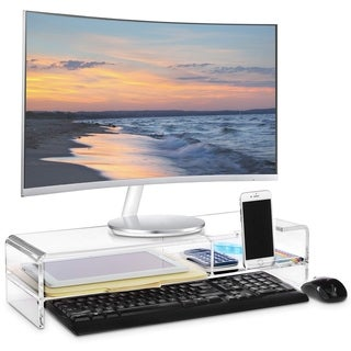Premium Acrylic Monitor Stand, Monitor Riser with 2 Compartments