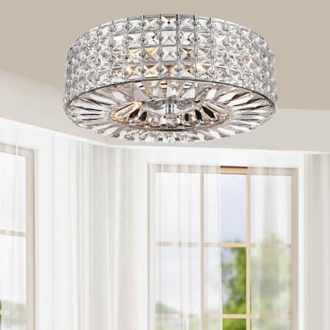 Jolie Chrome Finish 3-light Crystal and Prism Round Flush Mount - N/A