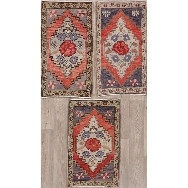 """Traditional Oushak Oriental Tribal Hand Knotted Wool Area Rug - 2'11"""" x 1'7"""""""