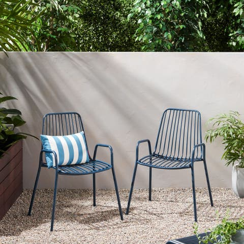 Omaha Outdoor Modern Club Chair (Set of 2) by Christopher Knight Home