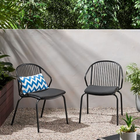 Boston Outdoor Modern Club Chair with Cushion (Set of 2) by Christopher Knight Home