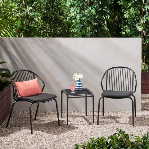Boston Outdoor Modern 2 Seater Chat Set with Cushions by Christopher Knight Home