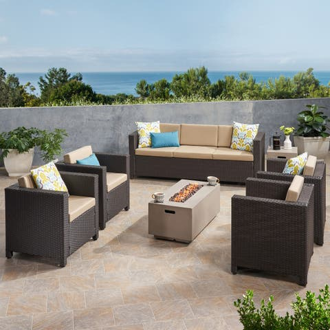 Hammersmith Outdoor 7 Seater Wicker Chat Set with Fire Pit by Christopher Knight Home