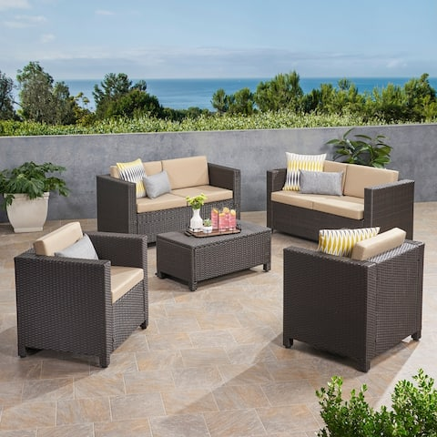 Puerta Outdoor 6 Seater Wicker Loveseat Chat Set with Cushions by Christopher Knight Home