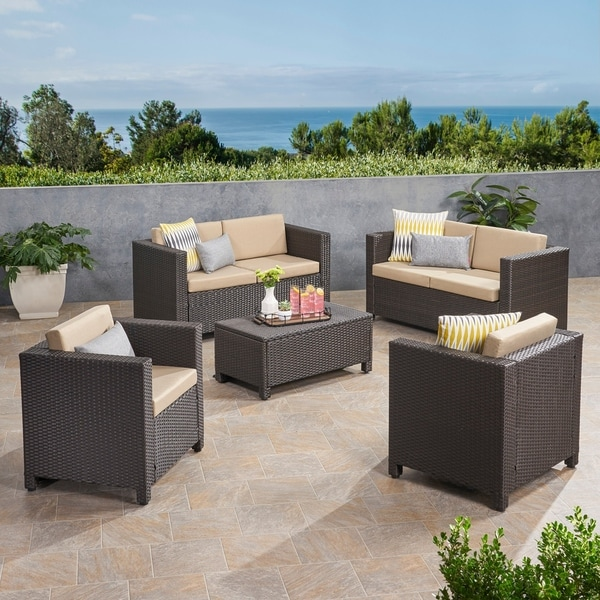 Puerta Outdoor 6 Seater Wicker Loveseat Chat Set with Cushions by Christopher Knight Home. Opens flyout.