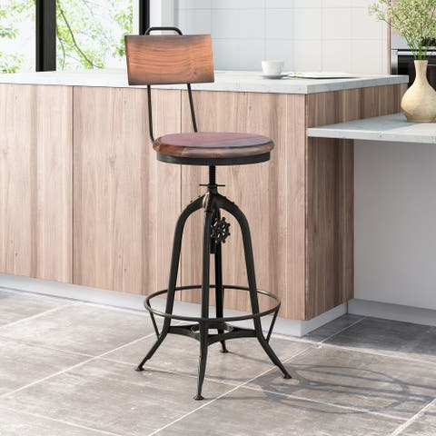 Clarkson Modern Industrial Acacia Wood Bar Stool by Christopher Knight Home