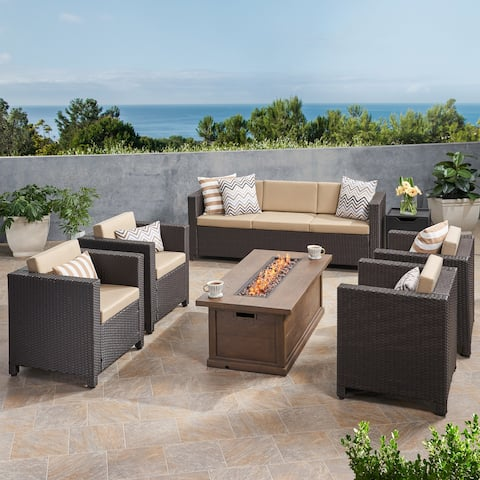 Gastman Outdoor 7 Seater Wicker Chat Set with Fire Pit by Christopher Knight Home