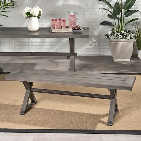 Landau Modern Outdoor Aluminum Dining Bench by Christopher Knight Home
