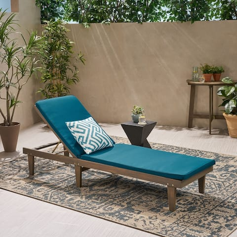 Nadine Outdoor Acacia Wood Chaise Lounge and Cushion Set by Christopher Knight Home