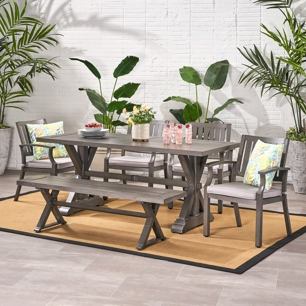 Lombok Outdoor Modern 6 Seater Aluminum Dining Set with Dining Bench by Christopher Knight Home