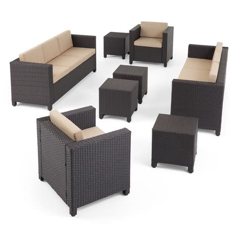 Puerta Outdoor 8 Seater Wicker Chat Set with Side Tables by Christopher Knight Home
