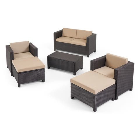 Puerta Outdoor 4 Seater Wicker Chat Set with Ottomans by Christopher Knight Home