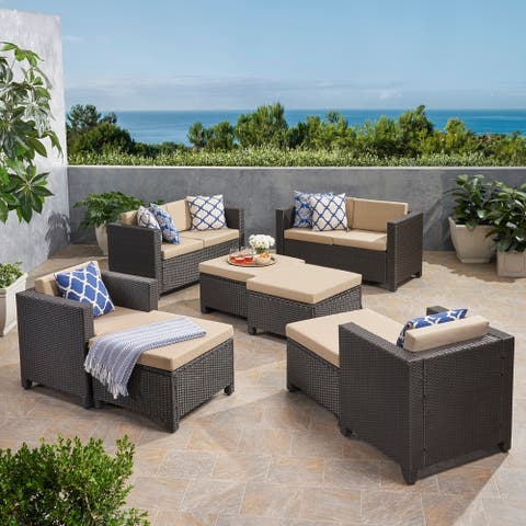 Puerta Outdoor 6 Seater Wicker Chat Set with Ottomans by Christopher Knight Home