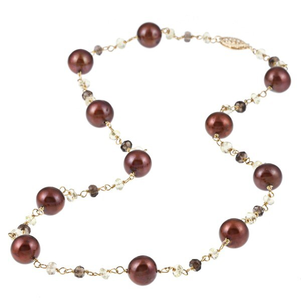 DaVonna 14k Gold Brown FW Pearl and Colored Quartz Link Necklace (10-11 mm)
