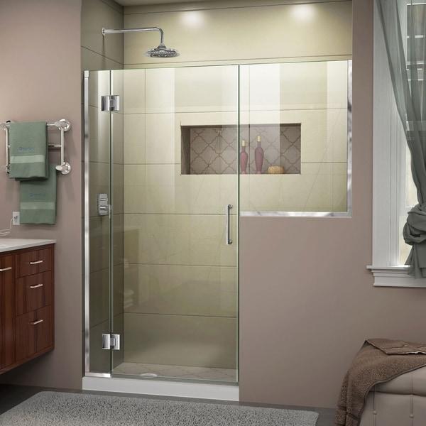 """DreamLine Unidoor-X 53-53 1/2 in. W x 72 in. H Frameless Hinged Shower Door - 53"""" - 53.5"""" W"""