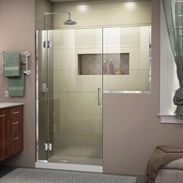 """DreamLine Unidoor-X 59-59 1/2 in. W x 72 in. H Frameless Hinged Shower Door - 59"""" - 59.5"""" W"""