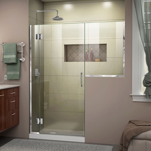 "DreamLine Unidoor-X 69-69 1/2 in. W x 72 in. H Frameless Hinged Shower Door - 69"" - 69.5"" W"