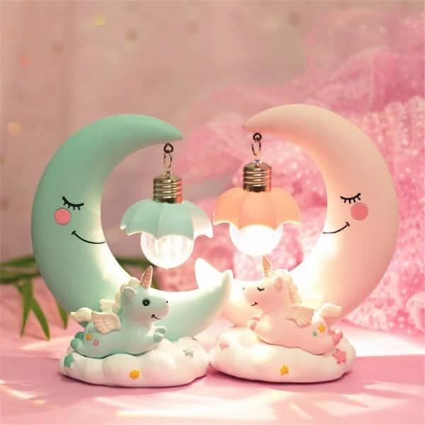 Led Night Light Resin Moon Unicorn Cartoon Baby Nursery Lamp Breathing For Children Kid Toy Christmas Gift Blue2
