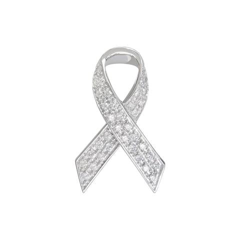 MARC Sterling Silver White CZ Ribbon Brooch Pendant