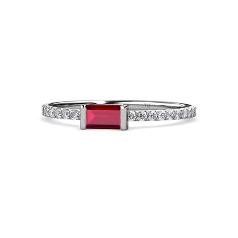 TriJewels Ruby and Diamond Womens Promise Ring 0.50 ctw 14KW Gold