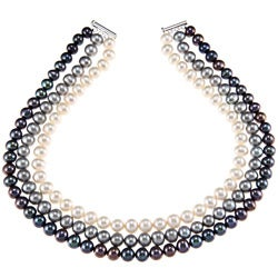 DaVonna Silver White Grey and Black FW Pearl 3-stand Necklace (9-10 mm)