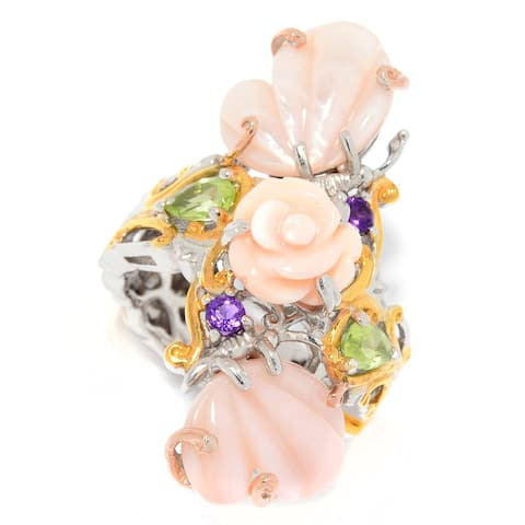Michael Valitutti Palladium Silver Carved Shell, Mother-of-Pearl, Gemstone Butterfly & Flower Ring