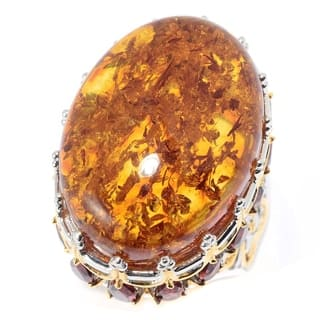 Michael Valitutti Palladium Silver Amber & Garnet High-Set Crown Ring