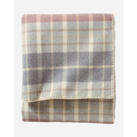 Pendleton Eco-Wise Blush-Grey Plaid Twin Blanket