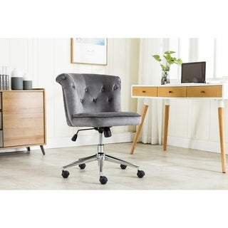 Porthos Home Quoba Swivel Office Chair, Tufted Velvet Upholstery