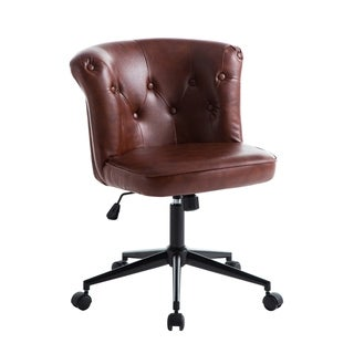 Porthos Home Qabil Swivel Office Chair, Tufted PU Leather Upholstery