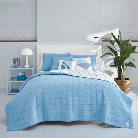 Now House by Jonathan Adler Marcel Blue Cotton Quilt Set