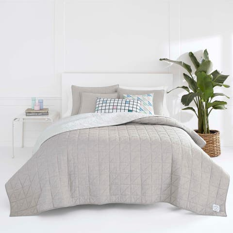 Now House by Jonathan Adler Marcel Grey Cotton Quilt Set