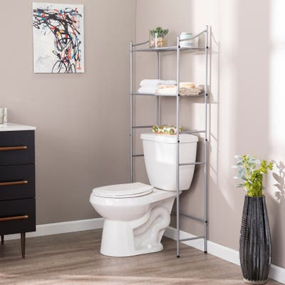 SEI Furniture Traditional Silver Metal Bath Space Saver with Shelves
