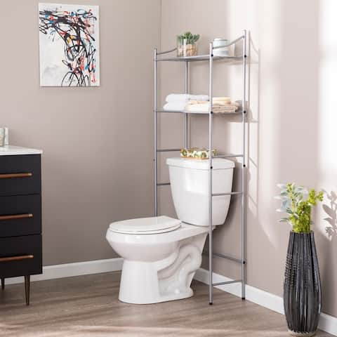 Traditional Silver Metal Bath Space Saver with Shelves