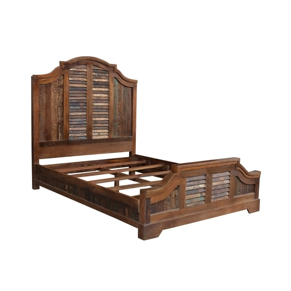 Aiden Carved Queen Bed-Natural