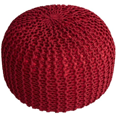"""Cheer Collection Decorative and Comfortable 18"""" Chunky Hand-Knit Round Ottoman Pouf"""