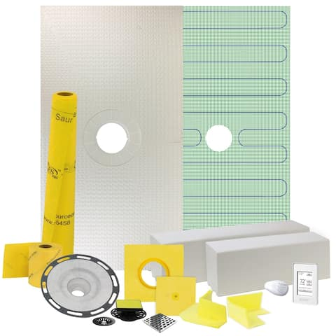 "32"" x60"" Floor Heating and Shower Kit with Center Drain and PVC Flange"