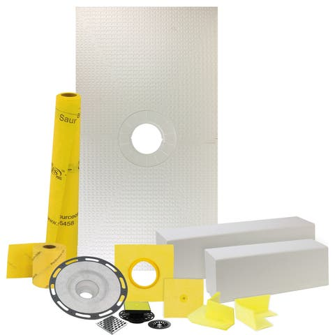 "32"" x 60"" Shower Waterproofing Kit with Center Drain and PVC Flange"