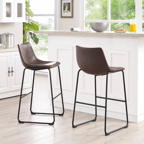 Carson Carrington Kabelvag 29-inch Faux Leather Bar Stool in Whiskey Brown (As Is Item)