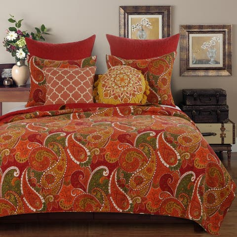 Greenland Home Fashions Tivoli Cotton Quilt Set, Cinnamon