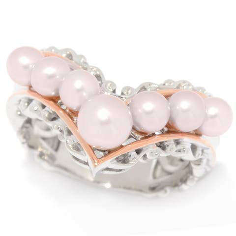 Michael Valitutti Palladium Silver Freshwater Cultured Pink Pearl Chevron Band Ring