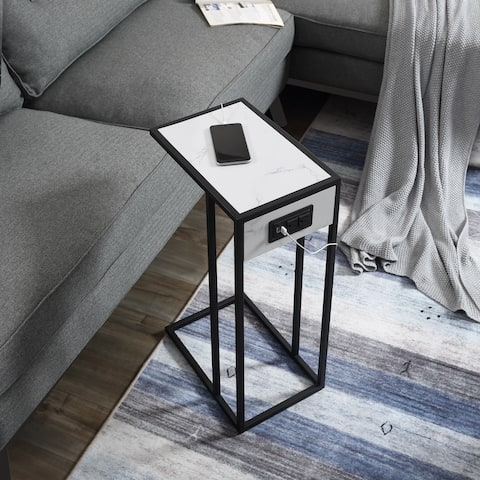 Carbon Loft Syahdah Marble Veneer C-table with USB Ports/ Outlets