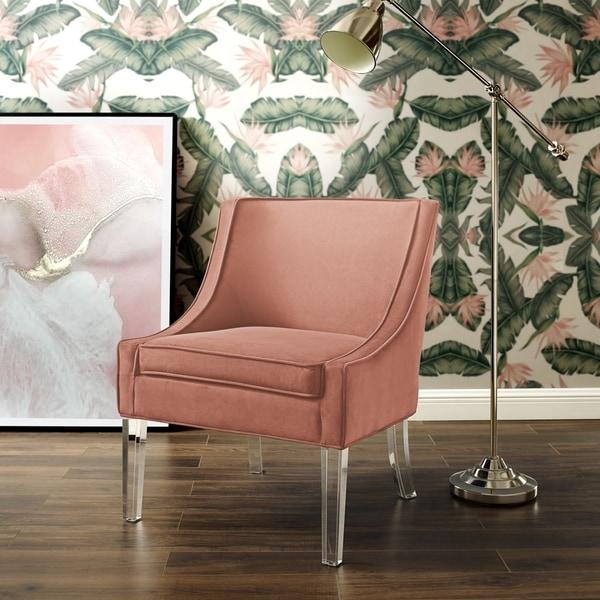 Shop Huxley Velvet Armless Accent Chair Acrylic Leg On