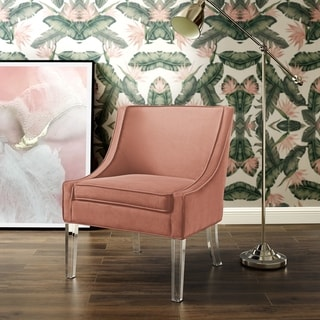 Link to Huxley Velvet Armless Accent Chair Acrylic Leg Similar Items in Accent Chairs