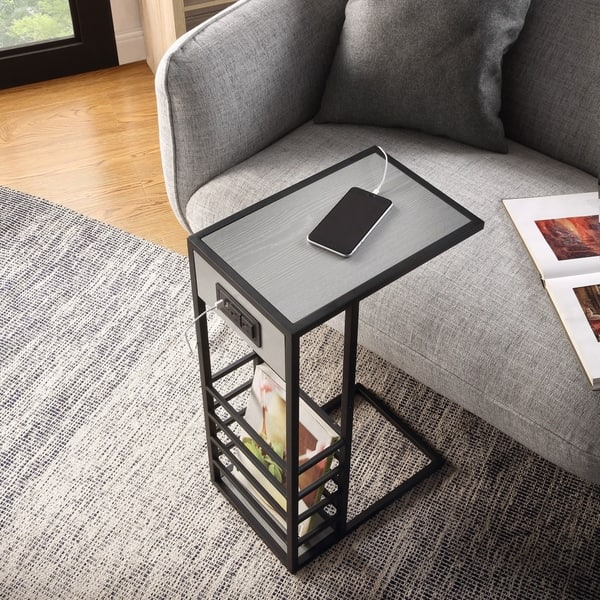 Carbon Loft Abidin C Table With Usb Ports Outlets And